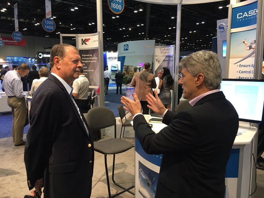 Phil D'Eon at NBAA 2016 talking to attendees and fellow exhibitors