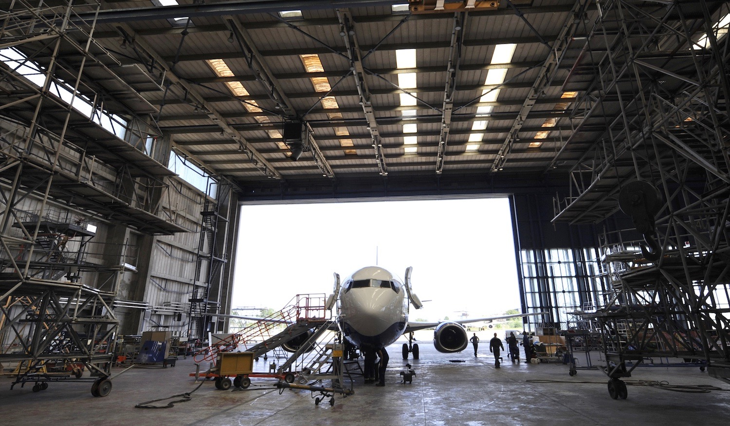 aircraft maintenance in hanger