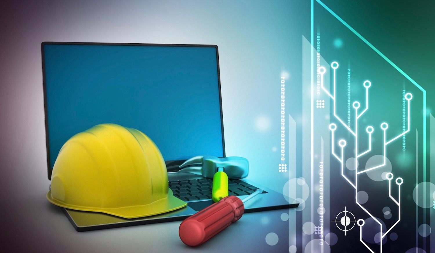 construction hat and tool on a laptop with data imagery