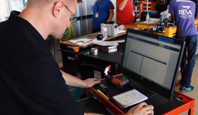 Technician on inventory management system