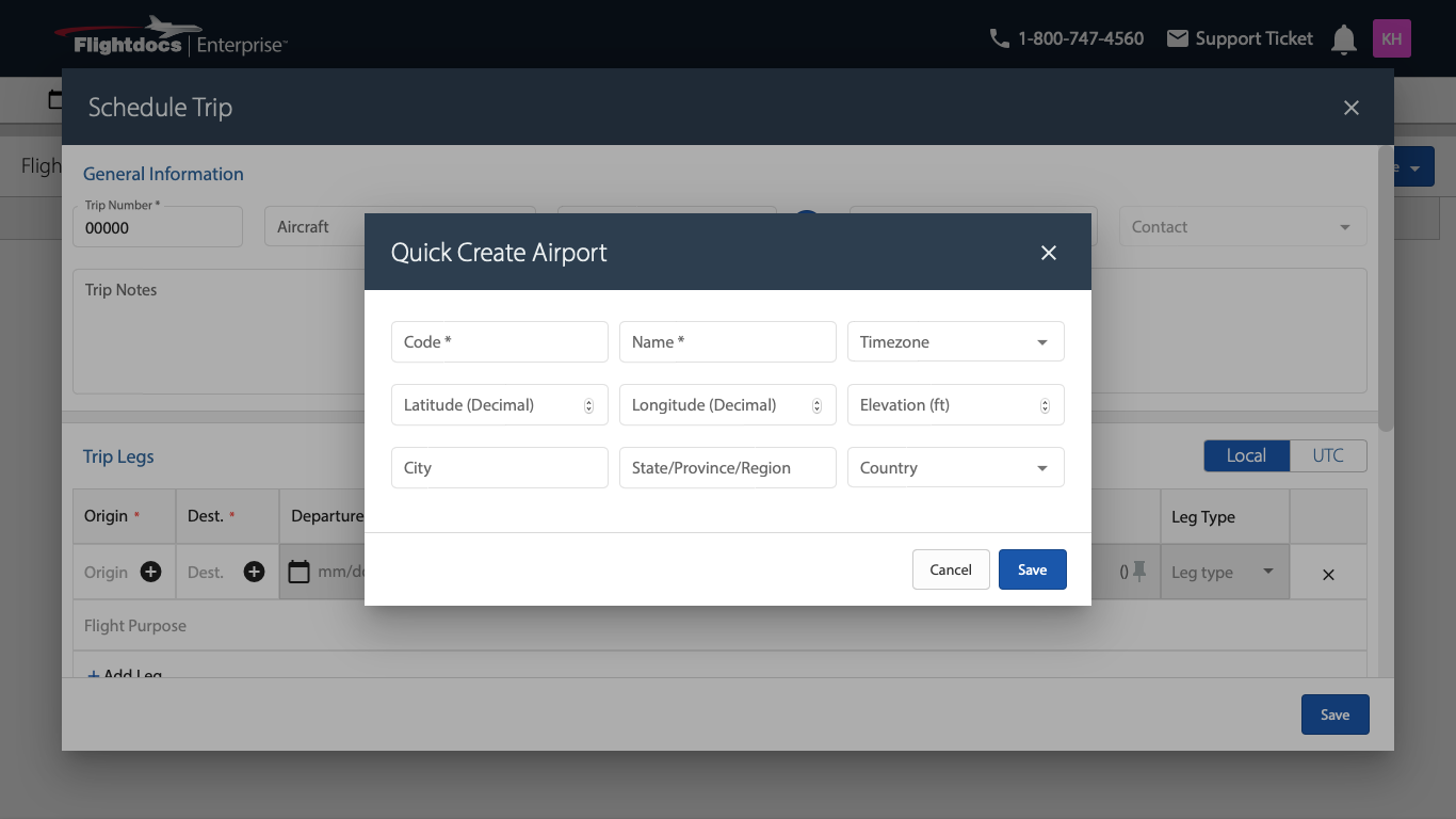 quickly create an airport on Flight Docs