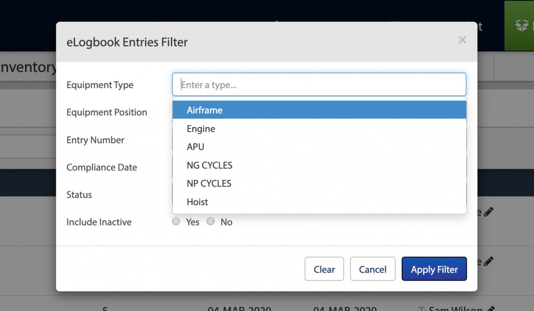 Flightdocs filter options2