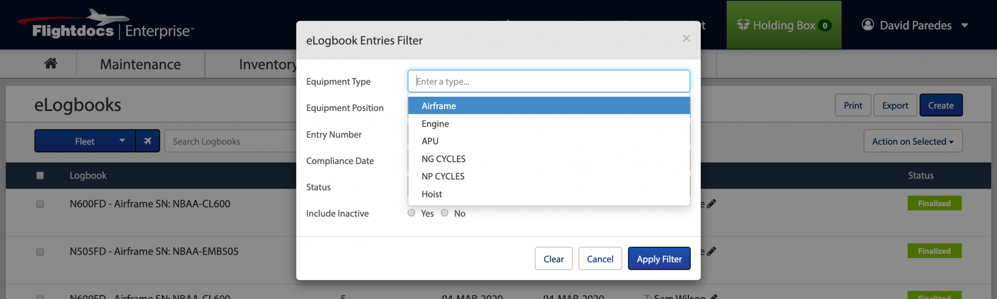 Flightdocs filter options